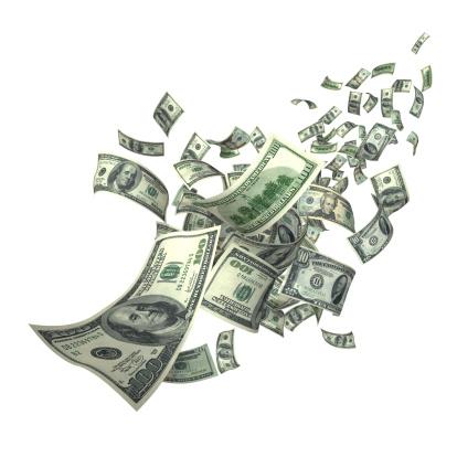 American One Hundred Dollar Bill「Falling Money Bills (XXXL)」:スマホ壁紙(6)
