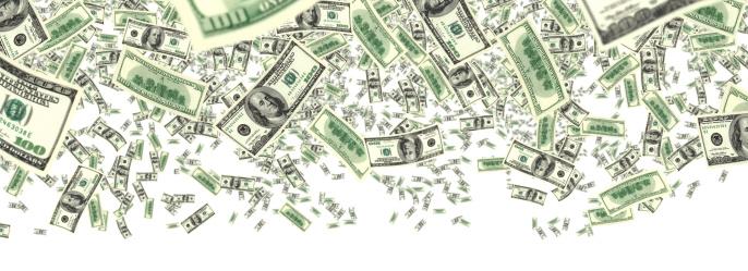 American One Hundred Dollar Bill「falling money」:スマホ壁紙(18)