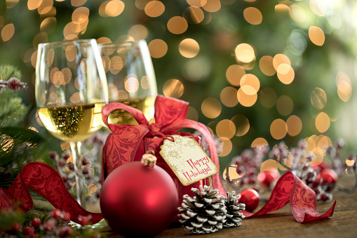 Christmas Lights「Christmas wine and gift in front of a Christmas tree」:スマホ壁紙(16)