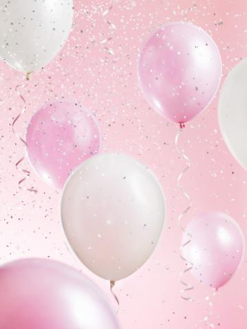 ピンク色「Pink and White Balloons with Confetti」:スマホ壁紙(19)
