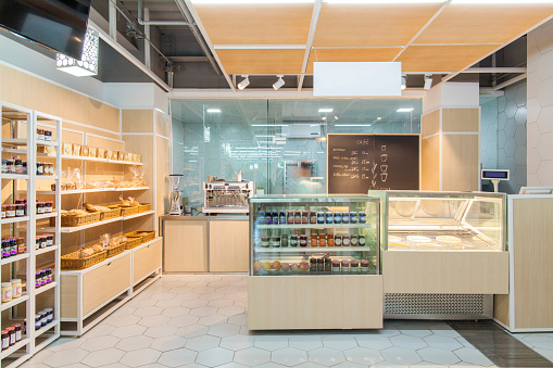 Groceries「View of bakery cafe in supermarket」:スマホ壁紙(1)