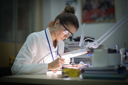 女性一人「虫眼鏡を使用した女性電気技師」:スマホ壁紙(15)