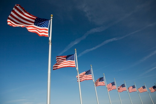 Pole「Flags around Washington Memorial Washington DC USA」:スマホ壁紙(3)