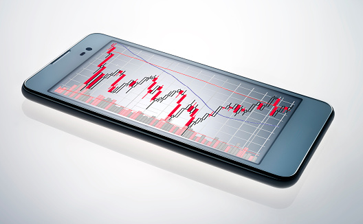 Mobile Phone「smart phone with stock chart」:スマホ壁紙(4)