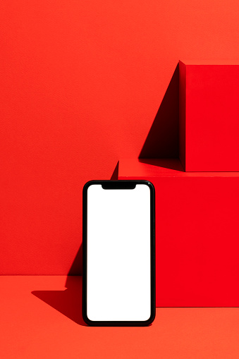 Touch Screen「Smart phone mockup, template on red background」:スマホ壁紙(19)
