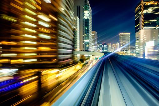 Blurred Motion「Downtown Night Train in Tokyo Japan」:スマホ壁紙(6)