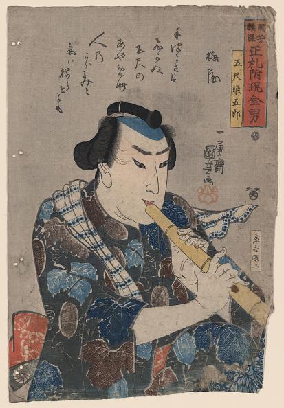 Musical instrument「Shakuhachi Player Artist: Kuniyoshi, Utagawa (1797-1861)」:写真・画像(5)[壁紙.com]
