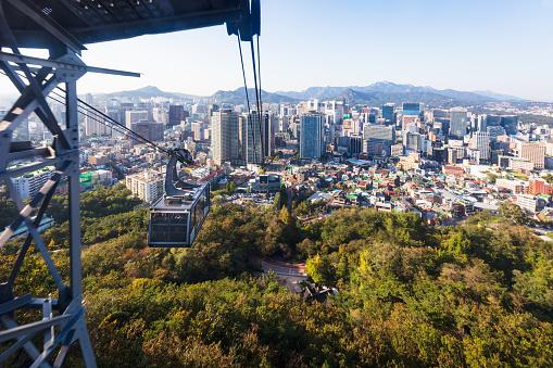 Passenger Cabin「Seoul Cityscape Cable Car Namsan South Korea」:スマホ壁紙(1)