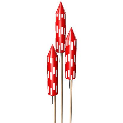 花火「Three red rocket  fireworks, on white」:スマホ壁紙(7)