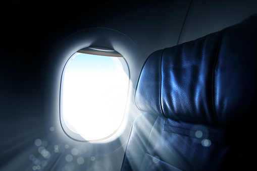 Passenger Cabin「interior view of commercial airplane window」:スマホ壁紙(13)