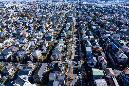 Aerial View「Residential areas with similar houses」:スマホ壁紙(12)