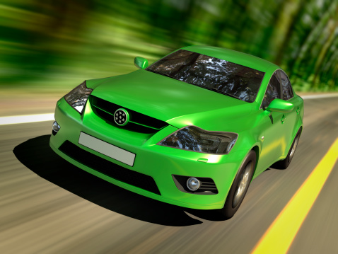 Driving「Green car in forest」:スマホ壁紙(3)
