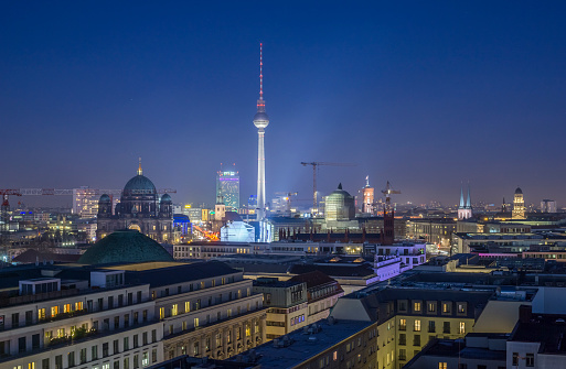 Cathedral「Germany, Berlin, skyline with television tower at night」:スマホ壁紙(9)