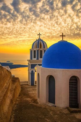Greek Orthodox「Santorini Chapels at Sunset」:スマホ壁紙(5)