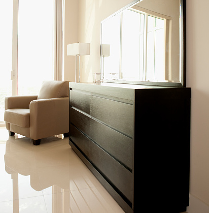 Pompano Beach「Dresser, mirror and armchair in modern bedroom」:スマホ壁紙(15)
