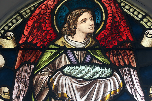 Crown - Headwear「Chijmes. Stained glass window. Angel with Jesuss crown of thorns. Singapore.」:スマホ壁紙(17)