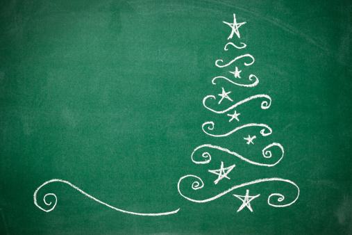 Chalk - Art Equipment「Christmas tree on the blackboard」:スマホ壁紙(2)
