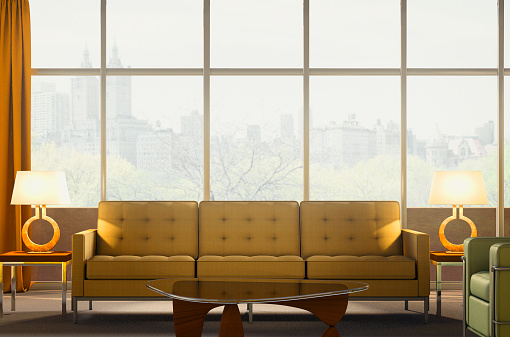 Living Room「Sofa and armchair in modern penthouse apartment」:スマホ壁紙(13)