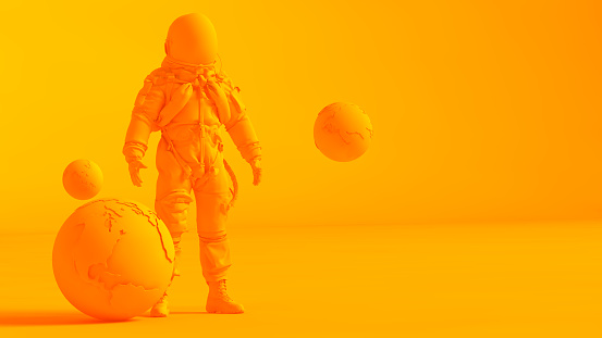Art「Concept stereoscopic image. Low poly earth and astronaut model isolated on orange background.」:スマホ壁紙(17)