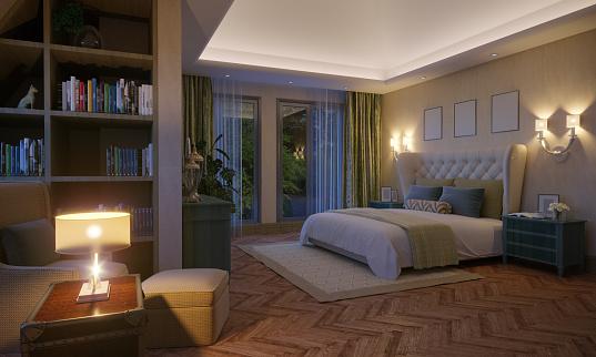 LED Light「Attic Bedroom Interior」:スマホ壁紙(13)