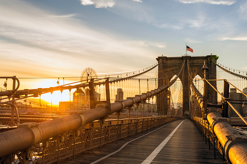 Footbridge「Brooklyn Bridge and Manhattan Bridge at Sunrise, New York City」:スマホ壁紙(4)
