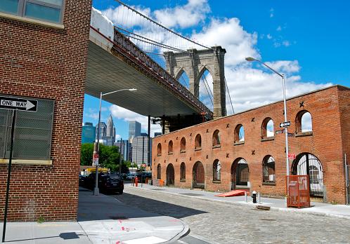 Steel Cable「Brooklyn Bridge as seen from Water Street, DUMBO, NYC」:スマホ壁紙(11)