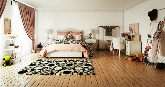 ピンク色「温かみのある居心地のよいベッドルーム」:スマホ壁紙(10)