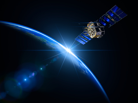Satellite View「Satellite And Sunrise In Space」:スマホ壁紙(5)