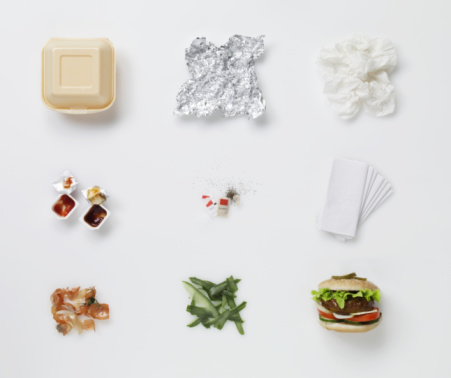 Take Out Food「a hamburger aligned with all its associated waste 」:スマホ壁紙(17)