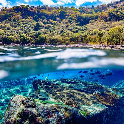 Shallow「Seascape and Landscape, Split Photo of remote Alor Island, Pantar Strait, Indonesia」:スマホ壁紙(13)