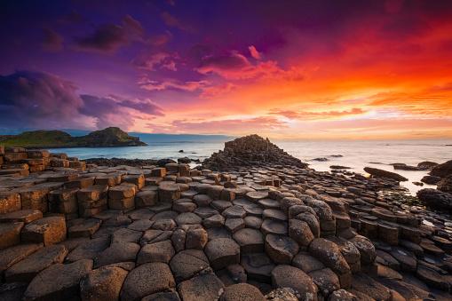 Northern Ireland「Giant's Causeway Sunset Northern Ireland UK」:スマホ壁紙(12)
