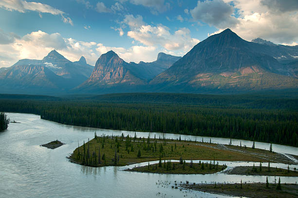 Athabasca River and Mountains:スマホ壁紙(壁紙.com)
