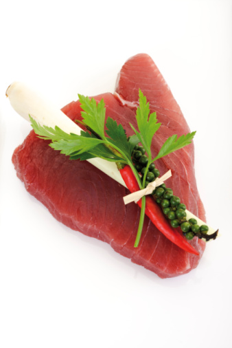 Ingredient「Raw tuna steak garnished with lemongrass, elevated view」:スマホ壁紙(18)