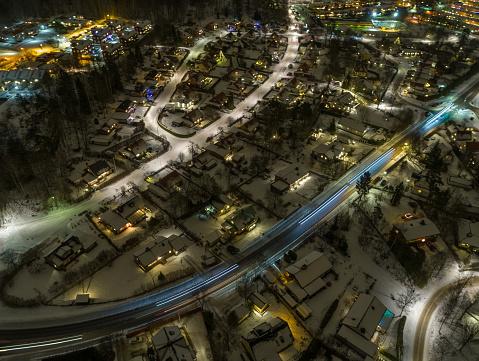 Snowdrift「Winter aerial view of a small town」:スマホ壁紙(11)