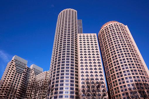 Postmodern「Architectural detail of Postmodern skyscrapers in downtown Boston」:スマホ壁紙(4)