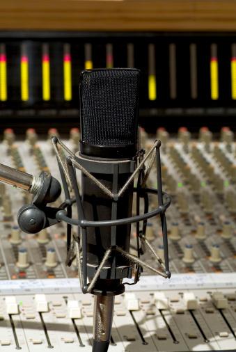 Rock Music「Recording studio microphone with soundboard background」:スマホ壁紙(18)