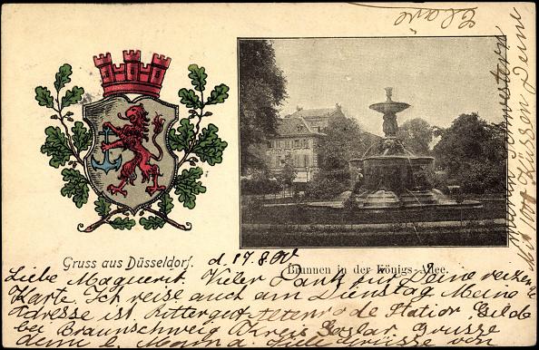 1900「Wappen Ak Düsseldorf, Brunnen in der Königs Allee, Haus」:写真・画像(14)[壁紙.com]