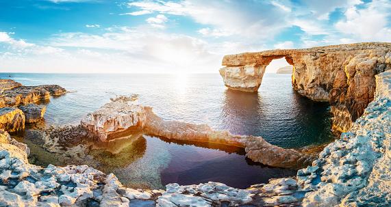 Natural Arch「Azure window in sunset, Malta」:スマホ壁紙(14)
