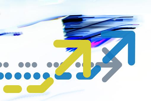 Quantum Computing「Arrow on abstract graphic background」:スマホ壁紙(1)