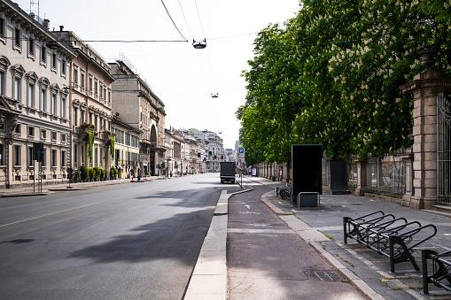 Milan「Italy, Milan, Corso Venezia street during COVID-19 outbreak」:スマホ壁紙(4)