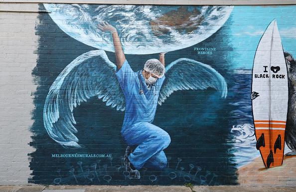 Melbourne - Australia「Street Artists Create Murals In Response To Coronavirus In Melbourne」:写真・画像(2)[壁紙.com]