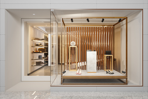 Store「Exterior Of Clothing Store With Shoes And Other Accessories Displaying In Showcase」:スマホ壁紙(4)