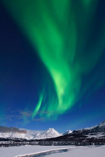 Geomagnetic Storm「Green Aurora Borealis at Wilderness, Tromso, Norway」:スマホ壁紙(19)