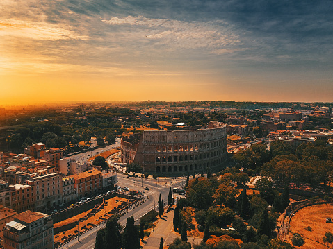 Rome - Italy「Colosseum in Rome and morning sun, Italy」:スマホ壁紙(12)