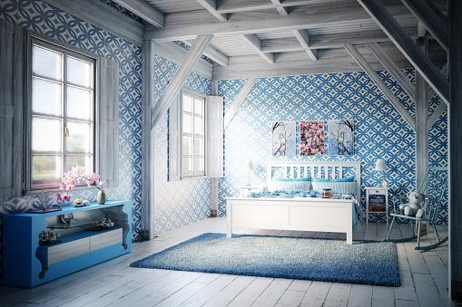 Bedroom「Cozy Blue Themed Bedroom」:スマホ壁紙(1)