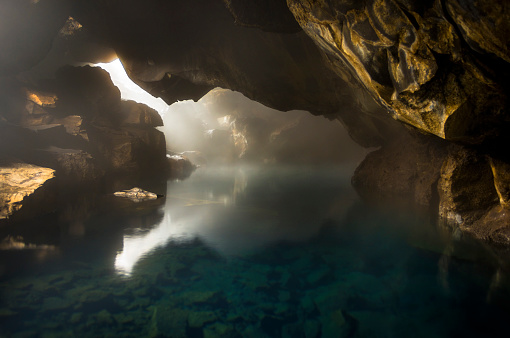 Cave「Hot Springs in a Cave in Iceland」:スマホ壁紙(3)