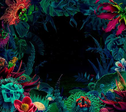 Surreal「Night jungle background」:スマホ壁紙(0)