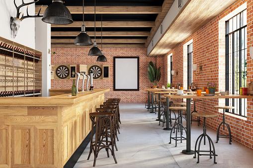 Bar Counter「Cozy Restaurant Cafe Bar interior」:スマホ壁紙(17)