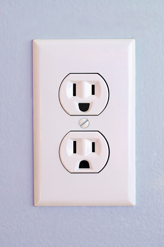 Smiling「Outlet on wall with happy and sad face (Digital Composite)」:スマホ壁紙(16)
