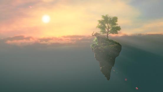 Surreal「Elephant on a floating island」:スマホ壁紙(13)